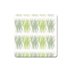 Weeds Grass Green Yellow Leaf Square Magnet