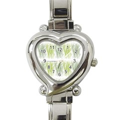 Weeds Grass Green Yellow Leaf Heart Italian Charm Watch
