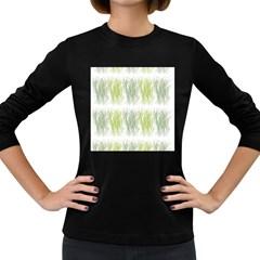 Weeds Grass Green Yellow Leaf Women s Long Sleeve Dark T Shirts