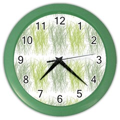 Weeds Grass Green Yellow Leaf Color Wall Clocks