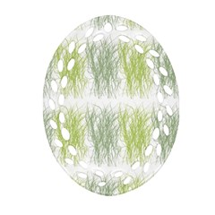 Weeds Grass Green Yellow Leaf Oval Filigree Ornament (two Sides)