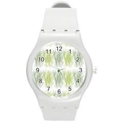 Weeds Grass Green Yellow Leaf Round Plastic Sport Watch (m)