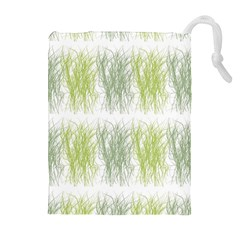 Weeds Grass Green Yellow Leaf Drawstring Pouches (extra Large)
