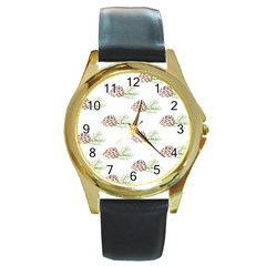Pinecone Pattern Round Gold Metal Watch