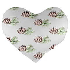 Pinecone Pattern Large 19  Premium Flano Heart Shape Cushions