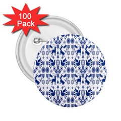 Rabbits Deer Birds Fish Flowers Floral Star Blue White Sexy Animals 2 25  Buttons (100 Pack)