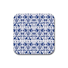 Rabbits Deer Birds Fish Flowers Floral Star Blue White Sexy Animals Rubber Square Coaster (4 Pack)