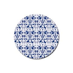Rabbits Deer Birds Fish Flowers Floral Star Blue White Sexy Animals Rubber Coaster (round)