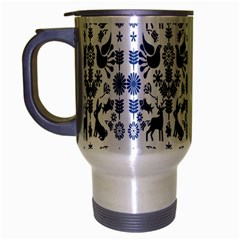 Rabbits Deer Birds Fish Flowers Floral Star Blue White Sexy Animals Travel Mug (silver Gray)