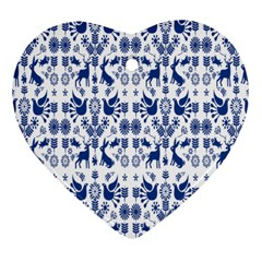Rabbits Deer Birds Fish Flowers Floral Star Blue White Sexy Animals Heart Ornament (two Sides)
