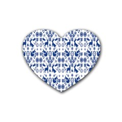 Rabbits Deer Birds Fish Flowers Floral Star Blue White Sexy Animals Heart Coaster (4 Pack)