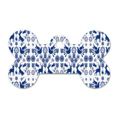 Rabbits Deer Birds Fish Flowers Floral Star Blue White Sexy Animals Dog Tag Bone (two Sides)
