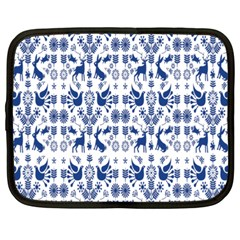 Rabbits Deer Birds Fish Flowers Floral Star Blue White Sexy Animals Netbook Case (large)
