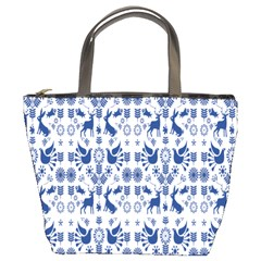 Rabbits Deer Birds Fish Flowers Floral Star Blue White Sexy Animals Bucket Bags