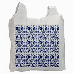 Rabbits Deer Birds Fish Flowers Floral Star Blue White Sexy Animals Recycle Bag (two Side)