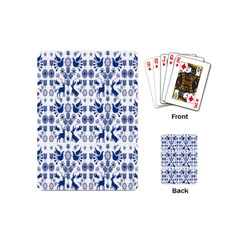 Rabbits Deer Birds Fish Flowers Floral Star Blue White Sexy Animals Playing Cards (mini)