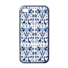 Rabbits Deer Birds Fish Flowers Floral Star Blue White Sexy Animals Apple Iphone 4 Case (black)