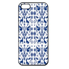 Rabbits Deer Birds Fish Flowers Floral Star Blue White Sexy Animals Apple Iphone 5 Seamless Case (black)