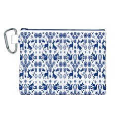 Rabbits Deer Birds Fish Flowers Floral Star Blue White Sexy Animals Canvas Cosmetic Bag (l)