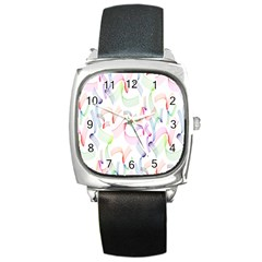 Rainbow Green Purple Pink Red Blue Pattern Zommed Square Metal Watch