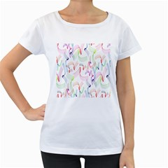 Rainbow Green Purple Pink Red Blue Pattern Zommed Women s Loose Fit T Shirt (white)