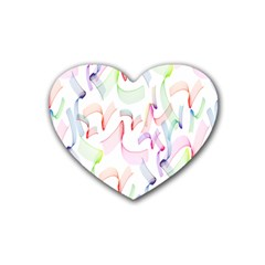 Rainbow Green Purple Pink Red Blue Pattern Zommed Rubber Coaster (heart)