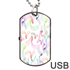 Rainbow Green Purple Pink Red Blue Pattern Zommed Dog Tag Usb Flash (one Side)