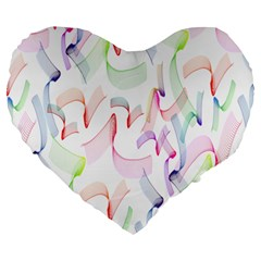 Rainbow Green Purple Pink Red Blue Pattern Zommed Large 19  Premium Heart Shape Cushions