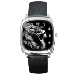 Male Lion Face Square Metal Watch