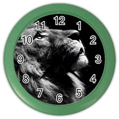 Male Lion Face Color Wall Clocks