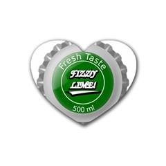 Fresh Taste Fizzy Lime Bottle Cap Rubber Coaster (heart)