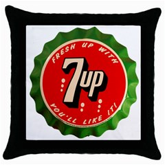 Fresh Up With  7 Up Bottle Cap Tin Metal Throw Pillow Case (black)