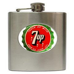 Fresh Up With  7 Up Bottle Cap Tin Metal Hip Flask (6 Oz)