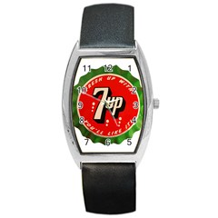 Fresh Up With  7 Up Bottle Cap Tin Metal Barrel Style Metal Watch