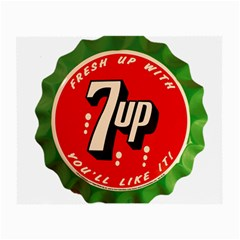 Fresh Up With  7 Up Bottle Cap Tin Metal Small Glasses Cloth
