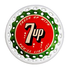 Fresh Up With  7 Up Bottle Cap Tin Metal Round Filigree Ornament (two Sides)