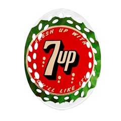 Fresh Up With  7 Up Bottle Cap Tin Metal Oval Filigree Ornament (two Sides)