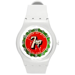 Fresh Up With  7 Up Bottle Cap Tin Metal Round Plastic Sport Watch (m)