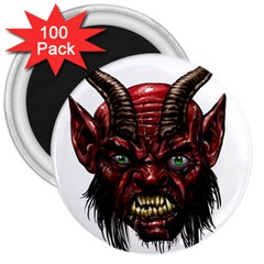 Krampus Devil Face 3  Magnets (100 Pack)