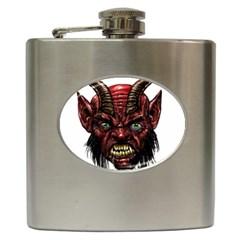 Krampus Devil Face Hip Flask (6 Oz)