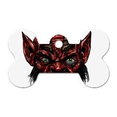 Krampus Devil Face Dog Tag Bone (two Sides)