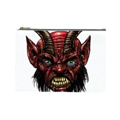 Krampus Devil Face Cosmetic Bag (large)