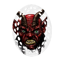 Krampus Devil Face Oval Filigree Ornament (two Sides)