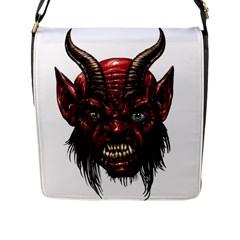 Krampus Devil Face Flap Messenger Bag (l)
