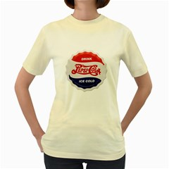 Pepsi Cola Bottle Cap Style Metal Women s Yellow T Shirt