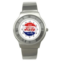 Pepsi Cola Bottle Cap Style Metal Stainless Steel Watch