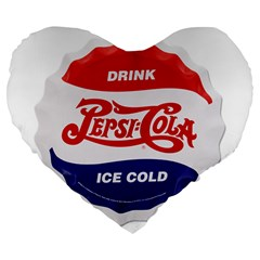 Pepsi Cola Bottle Cap Style Metal Large 19  Premium Flano Heart Shape Cushions