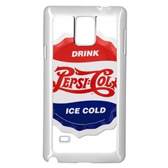 Pepsi Cola Bottle Cap Style Metal Samsung Galaxy Note 4 Case (white)