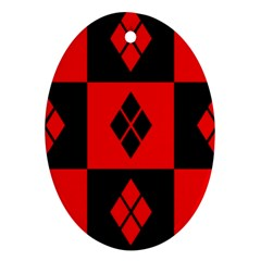 Harley Quinn Logo Pattern Oval Ornament (two Sides)