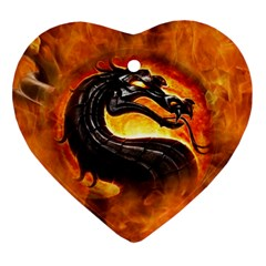 Dragon And Fire Ornament (heart)